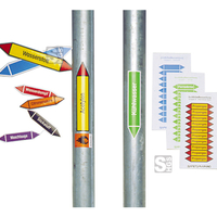 Anwendungsbeispiele: Pfeilschilder, Etiketten zur Rohrleitungskennzeichnung, links: Einzeletiketten, rechts: 10er-Bögen