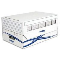 Conteneur BASIQUE ouverture dessus, fenêtre visualisation, montage manuel, carton blanc/bleu
