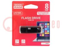 Pendrive; USB 3.0; 8GB; Lezen:60MB/s; Schrijven:20MB/s
