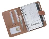 Normalansicht - Ecobra Organizer Stuttgart hellbraun, Kunstleder, DIN A6 Lasche/Druckknopf