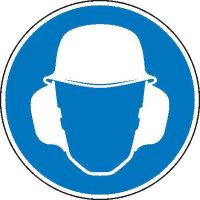 Gehör- und Kopfschutz benutzen Gebotsschild, selbstkl. Folie, Größe 10cm