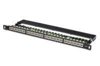 Patchpanel 24-fach, Cat 6, Klasse E für bis zu 250 MHz, geschirmt, schwarz, Digitus® [DN-91624S-SL-SH]