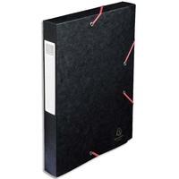 EXACOMPTA Chemise 3 rabats et élastique Exatobox dos de 4 cm, en carte lustrée 5/10e noir