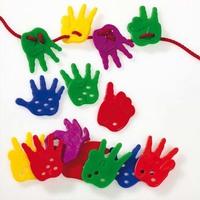 Boîte de 72 mains à lacer L4 x H5 cm, avec 6 lacets coloris assortis