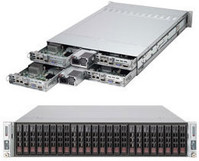 """SuperServer 2028TR-H72R 2U, 4 nodes, each: 6x 2.5"""" Hot-swap drive bays w/ 2x Xeon E5-2600 v4/v3 support, C612 chipset, 1600W PS Rack Cabinet"""