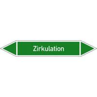 Rohrleitungskennzeichnung/Pfeilschild Gruppe1 Wasser(grün),selbstkl. 12,6x2,6cm Version: P1488 DIN 2403 - Zirkulation P1488