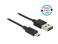 Kabel EASY USB 2.0, Stecker A an Micro Stecker B, schwarz, 1m, Delock® [83844]
