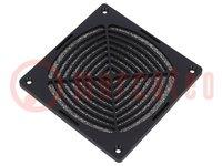 Haube; mit Filter; 120x120mm; Mat: Kunststoff; Farbe: schwarz