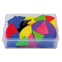 Coffret contenant 51 sets de fractions en plastique souple couleurs assorties