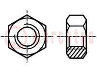 Moer; zeskantig; M6; staal; Bedekking: zink; H:5mm; Spoed:1,0; 10mm