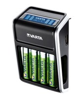 Varta® LCD-Steckerladegerät für 2 oder 4 Mignon (AA) / Mikro (AAA) oder 1x 9V Akkus