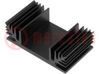 Hűtő: extrudált; TO3; fekete; L:37,5mm; W:65mm; H:20mm; 3K/W