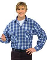 Flanell-Hemd 2001 blau kariert Gr. 49/50