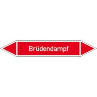 Rohrleitungskennzeichnung/Pfeilschild Gruppe2 Dampf(rot),selbstkl. 22,3x3,7cm Version: P2005 DIN 2403 - Brüdendampf P2005