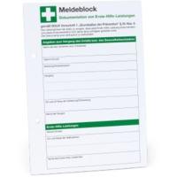 Meldeblock zur dokumentation von erste hilfe leistungen for Logiciel merchandising gratuit