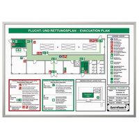 Rahmen für Fluchtpläne, inkl. Diebstahlsicherung, Bilmaß: DIN A1