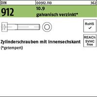 DIN 912 10.9 M 10 x 10 gal Zn A2F getempert gal Zn VE=S (200 Stück)