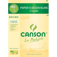 CANSON Pochette de 10 feuilles de papier dessin C A GRAIN 180g A3 Ref-27106