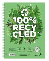 Silvine Premium Notebook Recycled Wirebound Punched Ruled Margin 120pp 80gsm A4plus Ref R102 [Pack 5]