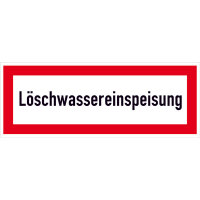 Löschwassereinspeisung Hinweisschild Brandschutz, Alu, 42,00x14,80 cm DIN 4066-D1