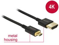 Kabel High Speed HDMI mit Ethernet - HDMI-A Stecker an HDMI Micro-D Stecker 3D 4K 2 m Slim Premium, Delock® [84783]