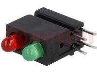 LED; házban; piros, zöld; 3mm; Dióda szám:2; 20mA; λd zöld:568nm