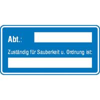 Modellbeispiel: Sicherheitsaushang, Abt.: ...., Zuständig für Sauberkeit u. Ordnung ist: ... (Art. 11.0725)