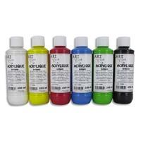 ART PLUS Coffret de 6 x 250ml acrylique brillante Blanc, Jaune, Rouge, Bleu, Vert, Noir