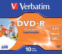DVD-R VERBATIM 4.7GB 16X PRINTABLE 10PK JC