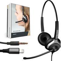 Headset 2-Ohr mit 3,5mm Klinke und Lightning-Adapter kompatibel für iPhone