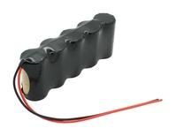 Notleuchtenakku NiCd 6,0V 2500mAh F1x5 Baby C mit 200mm Kabel einseitig passend für 6 V Akku