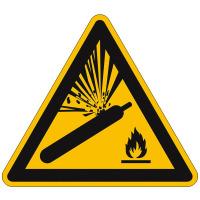 Warnschild,Alu,Warnung vor Gasflaschen,Größe: 20,0 cm DIN EN ISO 7010 W029 ASR A1.3 W029