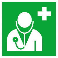 Erste Hilfe Kennzeichnung, Arzt, Folie, langnachleuchtend, Größe: 20,0 x 20,0 cm DIN EN ISO 7010 E009 ASR A1.3 E009