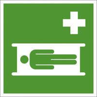 Erste Hilfe Kennzeichnung, Krankentrage, Alu, langnachleuchtend, 20,0 x 20,0 cm DIN EN ISO 7010 E013 ASR A1.3 E013