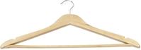 Kleiderbügel mit Einkerbungen und Steg, 44,5 x 1,2 x 23 cm, Holz natur