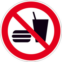 Verbotsschild - Verbotszeichen Essen und Trinken verboten Alu Größe: 20,0 cm DIN EN ISO 7010 P022 ASR A1.3 P022